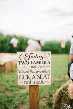 Pick a seat, not a side: http://www.stylemepretty.com/minnesota-weddings/2015/06/15/romantic-minnesota-barn-wedding/ | Photography: Kate Becker - http://www.katebeckerphotography.com/