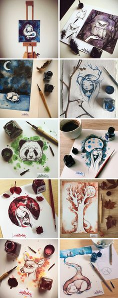 15 Cute Ink Illustrations by Nina Stajner for Inktober