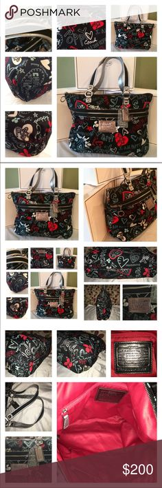 "✂️Coach Poppy Graffiti Hearts✂️ EUC Coach Poppy Graffiti Hearts! The bag has Jacquard canvas with metallic throughout,  black & silver patent leather handles and trim! Gorgeous Bag! Shows minimal signs of wear! Plz see pics! It's lined in Red satin, 1 zip, multiple slip pockets, decorated gathered corners, the exterior has a front zip pocket and bag closes by zipper! Truly amazing bag! Pics speak for themselves! Bag measures approx 16 x 13 x 5 double handle drop is 8""! 🚫price firm🚫 Coach…"