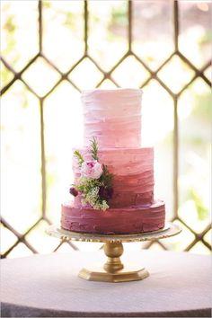 berry coloured ombre wedding cake