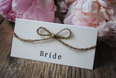 Items similar to Rustic Wedding Place Name Cards / Favours Country Jute Twine Bow Vintage on Etsy Wedding Place Names, Pub Wedding, Wedding Name, Marquee Wedding, Wedding Places, Wedding Cards, Wedding Tables, Wedding Decor, Wedding Reception