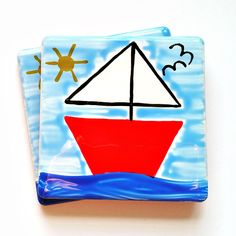 Boat Coaster, Sailing Boat, Ceramic Coaster, Personalised, Nautical Coasters, Maritime, Placemats, Men's Gift, Gifts for Mum, Blue, Red