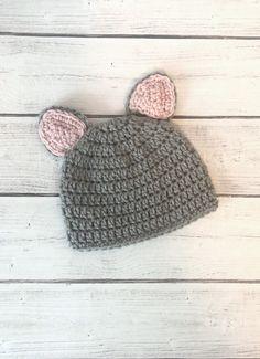 gray kitty ears crochet hat Ear Hats 6815105cc