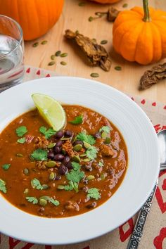 Pumpkin, chorizo and black bean soup from  Closet Cooking