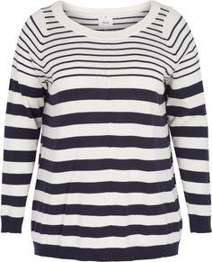 Strikket genser med striper fra Zizzi. Denne genseren har striper, rund hals og lange ermer. Den er laget av 100 % bomull. Style den med et par Zizzi-jeans for en elegant hverdagslook. Long Sleeve, Sleeves, Sweaters, Mens Tops, T Shirt, Elegant, Jeans, Fashion, Stripes
