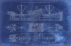 Blueprint Art of Ship Technical Drawings by BigBlueCanoe on Etsy