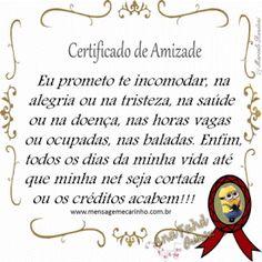 MENSAGENS DE CARINHO: Certificado de Amizade