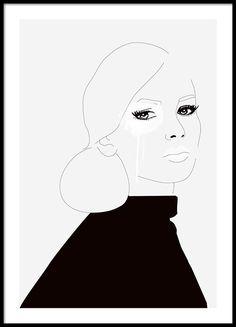 Zwart-wit print met illustratie met een vrouw
