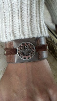 womans Brown Leather Love Birds and Gears Cuff by AlynneDesigns, $29.00