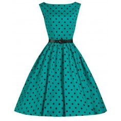 Audrey Turquoise Polka Dress | Vintage Inspired Fashion - Lindy Bop for the car show!