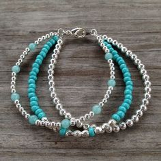 Inspiration Photo - Triple Strand Teal Silver Simple Beaded Bracelet on Etsy, $20.00: