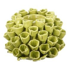 Beachcrest Home Ceramic Candle Holder Color: Green