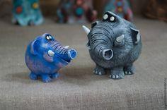 Купить Слоны животные полезные - серый, синий, слон, слоник, Керамика, смешной подарок