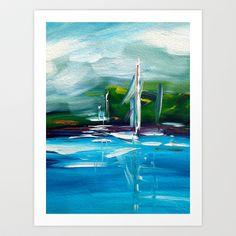 Promenade with sailing boats Art Print by Andreas Wemmje - $18.72