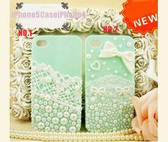 iPhone 5 Case, iPhone 4 case, Cute iPhone 5 case pearls, cute iphone 4 case bow, lace iphone 5 cases, lace iphone 4 case iphone 4s skin. $8.98, via Etsy.