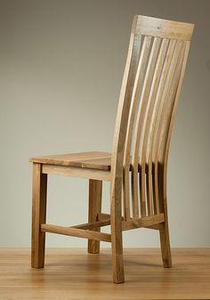 Solid Oak High Slat Back Dining Chair