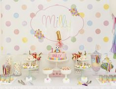 "Hootabelle & Pastel Polka Dots / Birthday ""Milly's 1st Birthday"" 