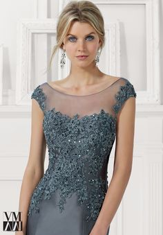 71102 Evening Gowns / Dresses Larissa Satin with Beaded Lace Appliques