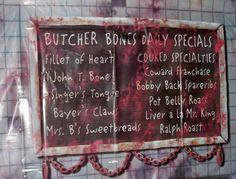 Butcher shop bloody chalk board for Halloween