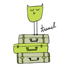 Traveling owl on suitcases #owls #travel