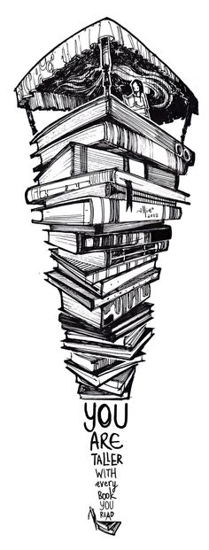 browsethestacks:  You Are Taller With Every Book You Read by SillyJellie