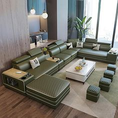 Living Room Bed, Unique Living Room Furniture, Living Room Sofa Design, Living Room Designs, Tufted Sectional, Large Sectional, Modern Sectional, Corner Sofa Design, Sofa Bed Design