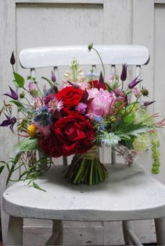 flowers on chair Beautiful Flower Arrangements, Floral Arrangements, Beautiful Flowers, Bride Bouquets, Floral Bouquets, Floral Wedding, Wedding Flowers, Virtual Flowers, Bloom Where Youre Planted