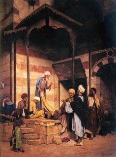 Eugène Baugnies (1842-1891) - La Rue Du Mousky , CairoAu Caire