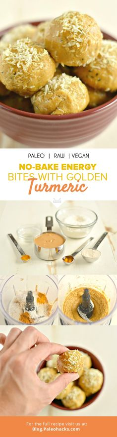 These anti-inflammatory Golden Turmeric Energy Bites pack a delicious boost of protein and superfood nutrition! Get the recipe here: http://paleo.co/turmenergybites
