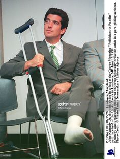 """sits with his leg in a cast at the George Magazine """"Politicians vs Pundits"""" auto race held at the US Air Arena in Landover, MD June Kennedy who''s magazine sponsored the. Get premium, high resolution news photos at Getty Images"""