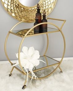 Carts rule, and the DecMode Mirrored Glass Bar Cart is exceptionally regal and popular with all its subjects. High and low shelves sit as chords. Metal Bar Cart, Diy Bar Cart, Gold Bar Cart, Bar Cart Styling, Bar Cart Decor, Bar Carts, Mirror With Shelf, Metal Mirror, Mirror Glass