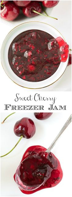 Sweet Cherry Freezer Jam Just 30 minutes for a delicious taste of fresh cherries all year long! Sweet Cherry Freezer Jam is super easy and there are no canning skills needed! via The Café Sucre Farine Freezer Jam Recipes, Jelly Recipes, Canning Recipes, Fruit Recipes, Nutella Recipes, Jar Recipes, Recipies, Frozen Cherries, Sweet Cherries