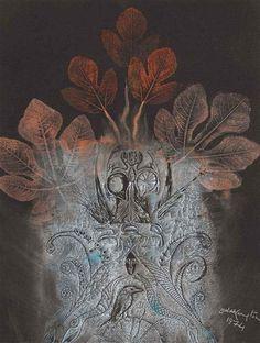 The Fig Mother - Leonora Carrington - WikiArt.org Леонора Каррингтон.Рисунок Мать. 1974