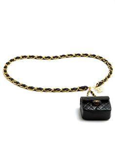 Now that's a 'fanny pack' I'd wear!!    Chanel Vintage Black Bag On Belt