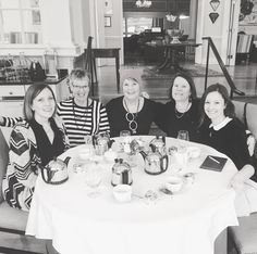 """#TBT to last week at our Headmistress Employee Appreciation Luncheon - this year we went for high tea at @langdonhall and we ate ourselves into a clotted cream coma.  From left to right - Erin """"Finance-and-Fertility"""" Wood Barb """"Netflix-and-Knit"""" Judd Leslie """"Operations-and-Opinions"""" Wood and Laurie """"Creative-and-Capable"""" Krempien-Hall and finally yours truly. Noticeably absent was our Toronto knitter Rachel """"Also Works Full-Time in Publishing - is there anything she can't do?""""…"""