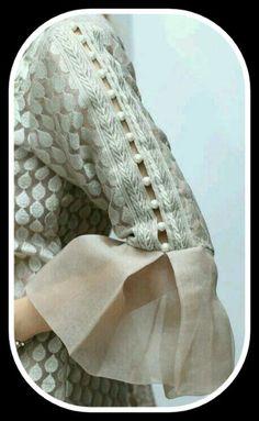 Kurti Sleeves Design, Kurta Neck Design, Saree Blouse Neck Designs, Sleeves Designs For Dresses, Chudidhar Neck Designs, Dress Neck Designs, Hand Designs, Sleeve Designs, Churidar