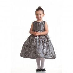 Crayon Kids Silver Floral Satin Sleeveless Easter Flower Girl Dress 2T-4T