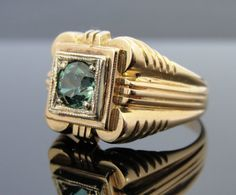 Puts me in an Empire state of mind. Mens Art Deco Ring with Bright Green Maine Tourmaline Center