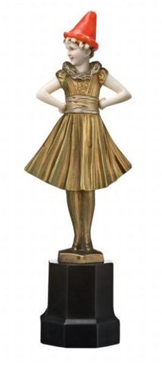 A bronze and ivory figure, Pierrette, by Ferdinand Priess…