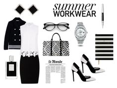 """""""Summer Workwear"""" by hilde-iii ❤ liked on Polyvore featuring Paco Rabanne, T By Alexander Wang, Elie Tahari, Greymer, Brahmin, Yvel, Rolex, Kilian and Caran D'Ache"""