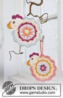 Chicken Vanes pattern by DROPS design ~ free pattern ᛡ Crochet Birds, Crochet Motifs, Easter Crochet, Crochet Flowers, Crochet Home, Crochet Crafts, Crochet Projects, Crochet Amigurumi, Crochet Yarn