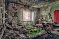 There's something Ozymandian about Christian Richter's abandoned buildings - ornate halls with grand pianos and plush furniture slowly decaying into dust, beds sprouting grass, cinemas caving in.