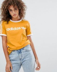 adidas Originals - T-shirt linéaire - Jaune