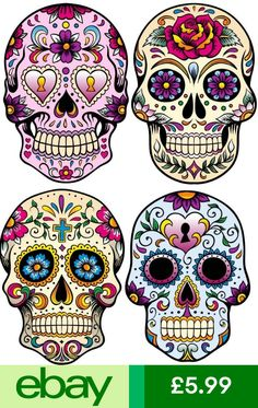 Mexican Sugar Skull Vinyl Sticker Pack of 4 Wall Sticker Sugar Skull Artwork, Sugar Skull Painting, Day Of The Dead Mask, Day Of The Dead Skull, Skeleton Drawings, Bird Drawings, Caveira Mexicana Tattoo, Mexican Sugar Skulls, Skull Coloring Pages