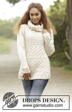 "Blanchard / DROPS - Free knitting patterns by DROPS Design Knitted DROPS sweater in ""Nepal"" with different textured patterns and high collar. Sizes S - XXXL. Free patterns by DROP. Knitting Designs, Knitting Patterns Free, Free Knitting, Free Pattern, Crochet Patterns, Jumpers For Women, Sweaters For Women, Ladies Jumpers, Drops Design"