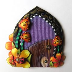 Toadstool Garden Fairy Door with a Pet Door by Claybykim Polymer Clay Miniature Fairy Gardens and Home by Claybykim on Etsy