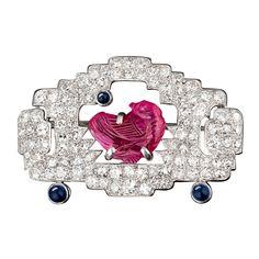 1STDIBS.COM Jewelry & Watches - Cartier Paris - CARTIER Art Deco Carved Ruby Bird Diamond Pin - MS Rau Antiques