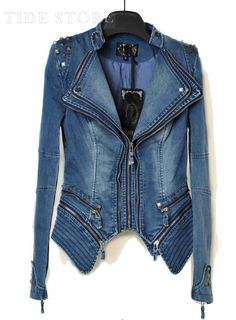Shop Stylish Leisure Design Female Long Sleeve Jean Jacket/Coat on sale at Tidestore with trendy design and good price. Come and find more fashion Jackets here. Denim Biker Jacket, Studded Denim Jacket, Blue Jean Jacket, Blazer Jacket, Denim Fashion, Fashion Outfits, Fashion Women, Style Fashion, Cheap Fashion