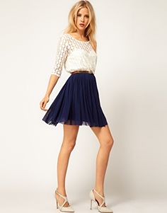 ASOS | ASOS Skater Dress With Spot Lace & Mesh Skirt at ASOS