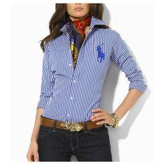 cheap ralph lauren polo Coton Stripe Shirt Femme bleu blanc http://www.polopascher.fr/
